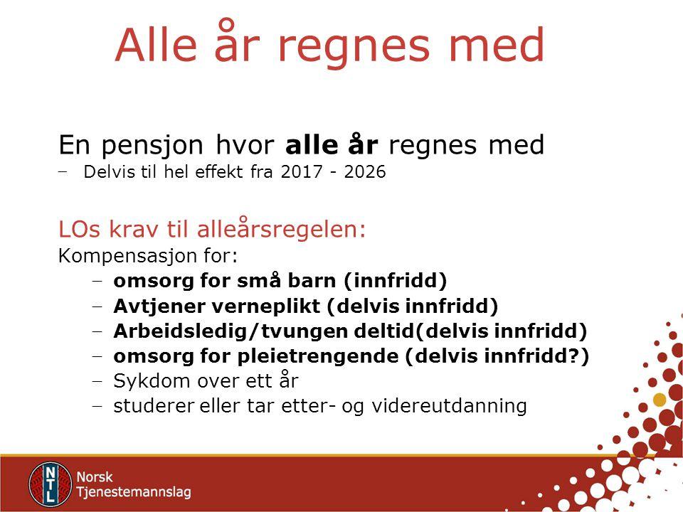 Alle år regnes med En pensjon hvor alle år regnes med − Delvis til hel effekt fra 2017 - 2026 LOs krav til alleårsregelen: Kompensasjon for: − omsorg