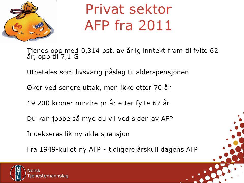 Privat sektor AFP fra 2011 Tjenes opp med 0,314 pst. av årlig inntekt fram til fylte 62 år, opp til 7,1 G Utbetales som livsvarig påslag til alderspen