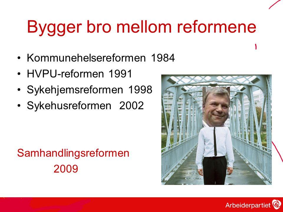 Bygger bro mellom reformene Kommunehelsereformen 1984 HVPU-reformen 1991 Sykehjemsreformen 1998 Sykehusreformen 2002 Samhandlingsreformen 2009