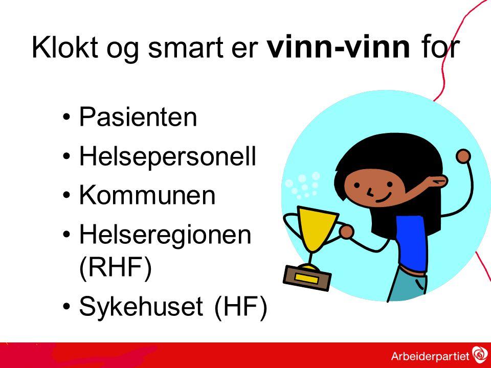 Klokt og smart er vinn-vinn for Pasienten Helsepersonell Kommunen Helseregionen (RHF) Sykehuset (HF)