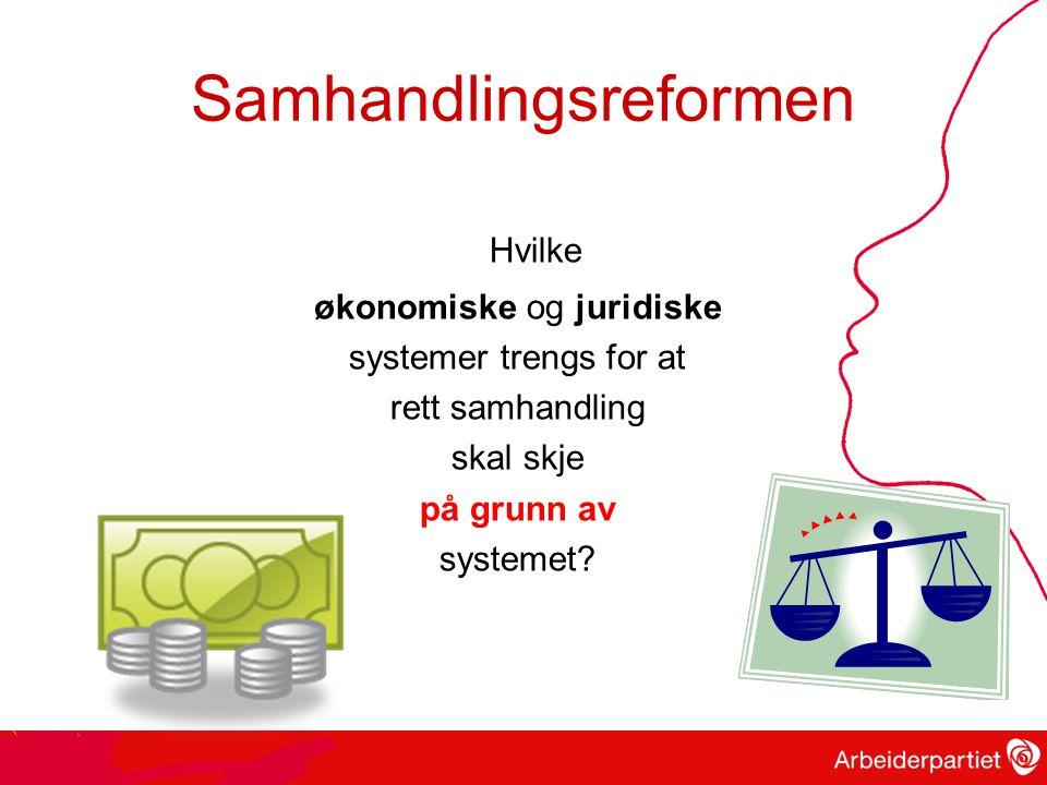 Samhandlingsreformen Hvilke økonomiske og juridiske systemer trengs for at rett samhandling skal skje på grunn av systemet?
