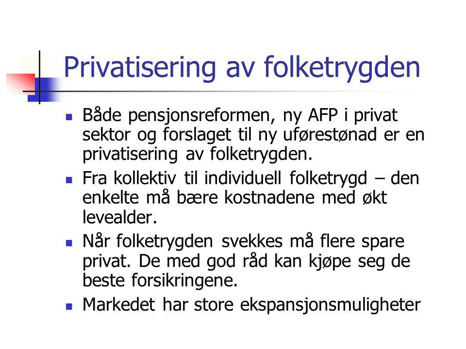 Privatisering av folketrygden Både pensjonsreformen, ny AFP i privat sektor og forslaget til ny uførestønad er en privatisering av folketrygden. Fra k