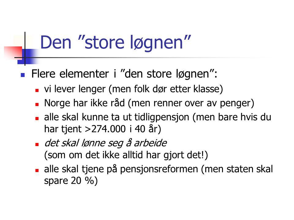 """Den """"store løgnen"""" Flere elementer i """"den store løgnen"""": vi lever lenger (men folk dør etter klasse) Norge har ikke råd (men renner over av penger) al"""