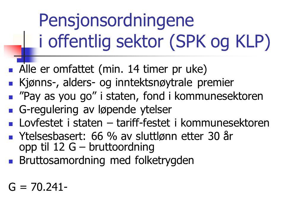"""Pensjonsordningene i offentlig sektor (SPK og KLP) Alle er omfattet (min. 14 timer pr uke) Kjønns-, alders- og inntektsnøytrale premier """"Pay as you go"""