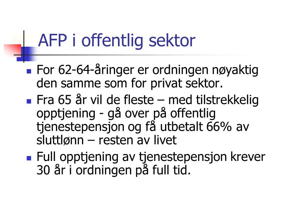 AFP i offentlig sektor For 62-64-åringer er ordningen nøyaktig den samme som for privat sektor. Fra 65 år vil de fleste – med tilstrekkelig opptjening