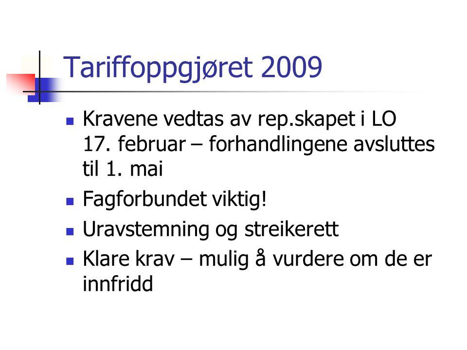 Tariffoppgjøret 2009 Kravene vedtas av rep.skapet i LO 17. februar – forhandlingene avsluttes til 1. mai Fagforbundet viktig! Uravstemning og streiker