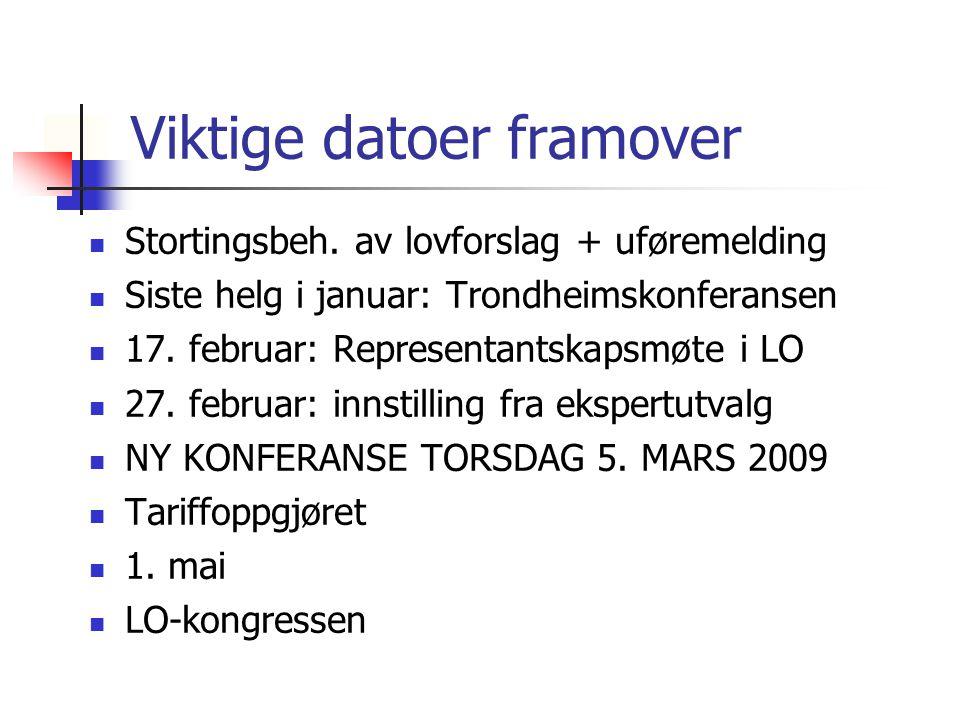 Viktige datoer framover Stortingsbeh. av lovforslag + uføremelding Siste helg i januar: Trondheimskonferansen 17. februar: Representantskapsmøte i LO