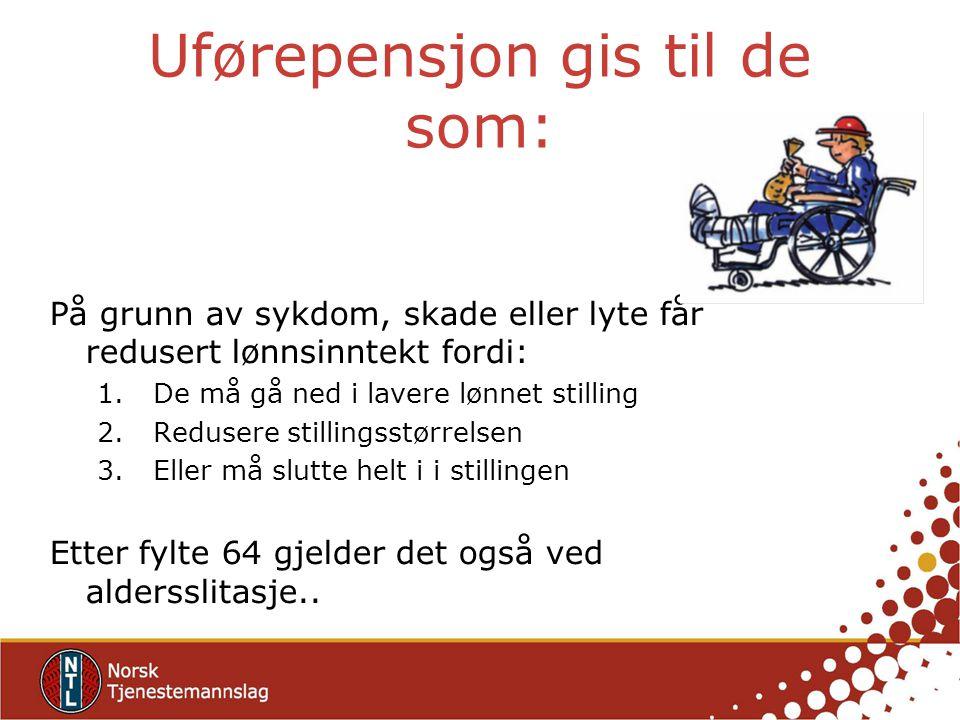 Uførepensjon gis til de som: På grunn av sykdom, skade eller lyte får redusert lønnsinntekt fordi: 1.De må gå ned i lavere lønnet stilling 2.Redusere
