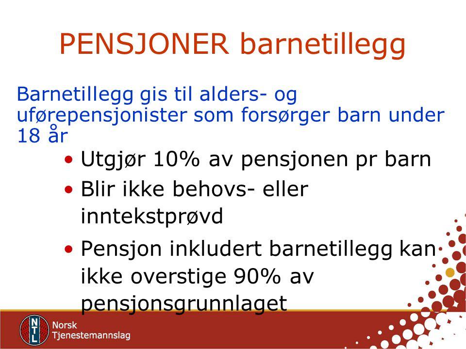 PENSJONER barnetillegg Utgjør 10% av pensjonen pr barn Blir ikke behovs- eller inntekstprøvd Pensjon inkludert barnetillegg kan ikke overstige 90% av