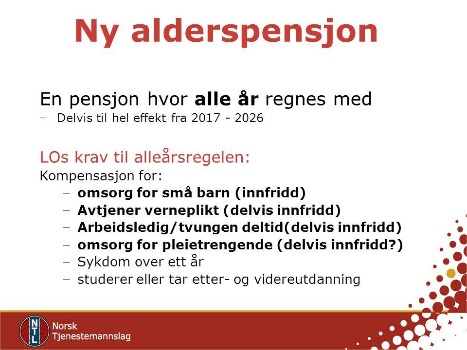 Ny alderspensjon En pensjon hvor alle år regnes med − Delvis til hel effekt fra 2017 - 2026 LOs krav til alleårsregelen: Kompensasjon for: − omsorg fo