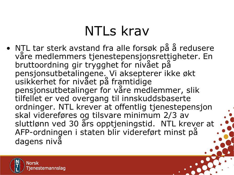 NTLs krav NTL tar sterk avstand fra alle forsøk på å redusere våre medlemmers tjenestepensjonsrettigheter. En bruttoordning gir trygghet for nivået på