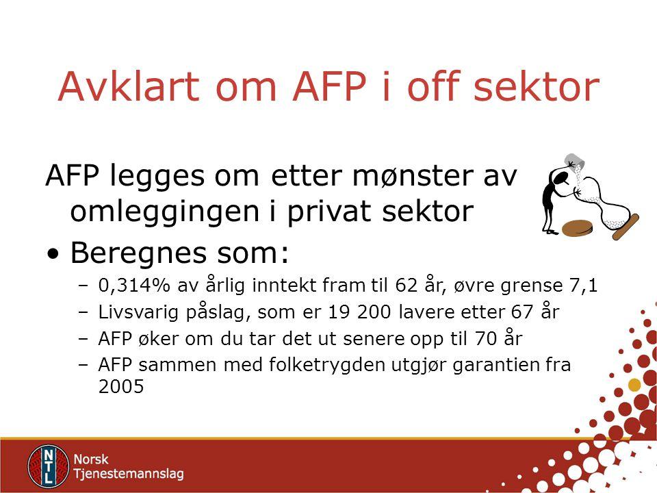 Avklart om AFP i off sektor AFP legges om etter mønster av omleggingen i privat sektor Beregnes som: –0,314% av årlig inntekt fram til 62 år, øvre grense 7,1 –Livsvarig påslag, som er 19 200 lavere etter 67 år –AFP øker om du tar det ut senere opp til 70 år –AFP sammen med folketrygden utgjør garantien fra 2005