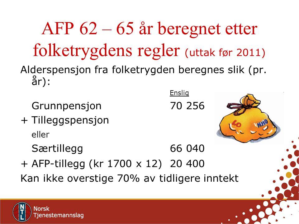 AFP 62 – 65 år beregnet etter folketrygdens regler (uttak før 2011) Alderspensjon fra folketrygden beregnes slik (pr. år): Enslig Grunnpensjon70 256 +