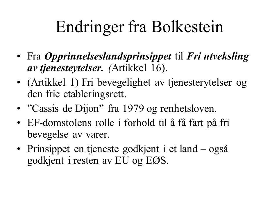 Endringer fra Bolkestein Fra Opprinnelseslandsprinsippet til Fri utveksling av tjenesteytelser. (Artikkel 16). (Artikkel 1) Fri bevegelighet av tjenes