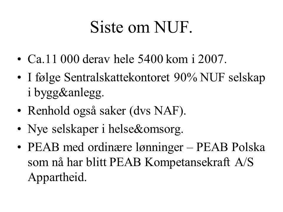 Siste om NUF. Ca.11 000 derav hele 5400 kom i 2007. I følge Sentralskattekontoret 90% NUF selskap i bygg&anlegg. Renhold også saker (dvs NAF). Nye sel