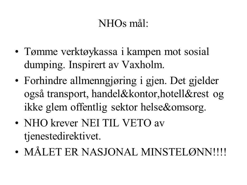 NHOs mål: Tømme verktøykassa i kampen mot sosial dumping. Inspirert av Vaxholm. Forhindre allmenngjøring i gjen. Det gjelder også transport, handel&ko