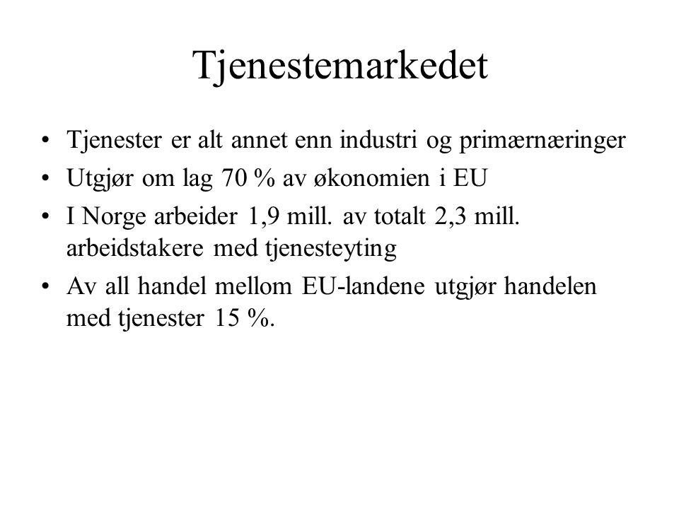 Tjenestemarkedet Tjenester er alt annet enn industri og primærnæringer Utgjør om lag 70 % av økonomien i EU I Norge arbeider 1,9 mill. av totalt 2,3 m