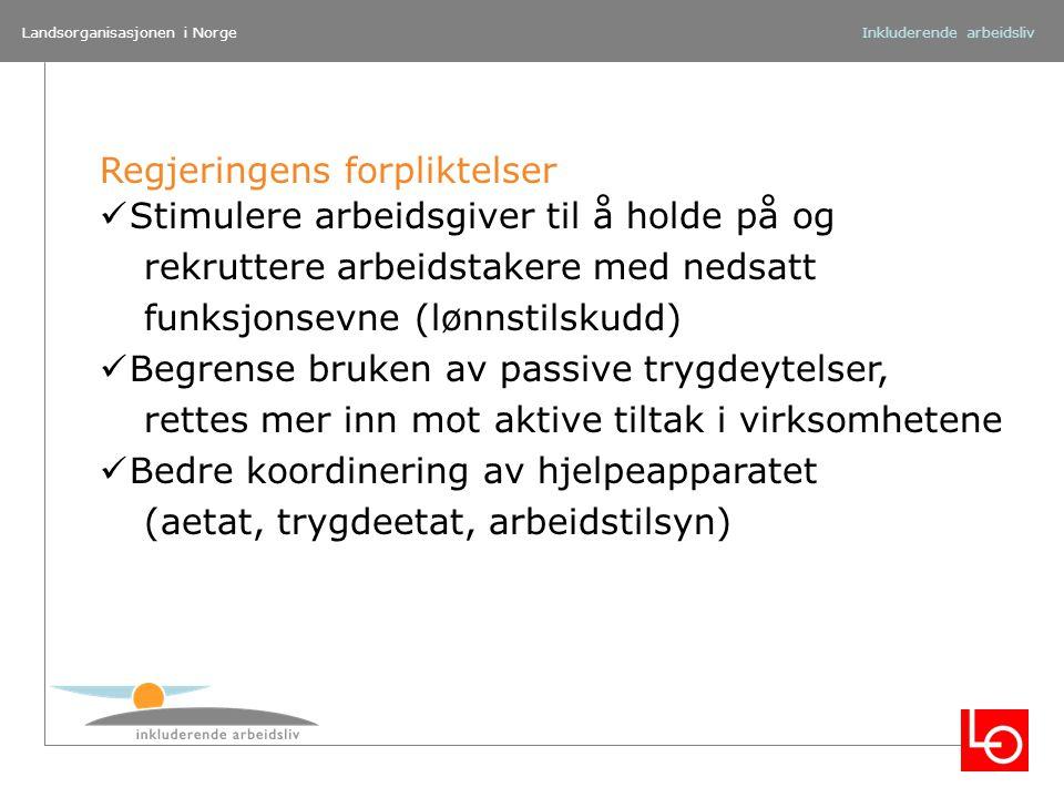 Landsorganisasjonen i NorgeInkluderende arbeidsliv Regjeringens forpliktelser Stimulere arbeidsgiver til å holde på og rekruttere arbeidstakere med ne