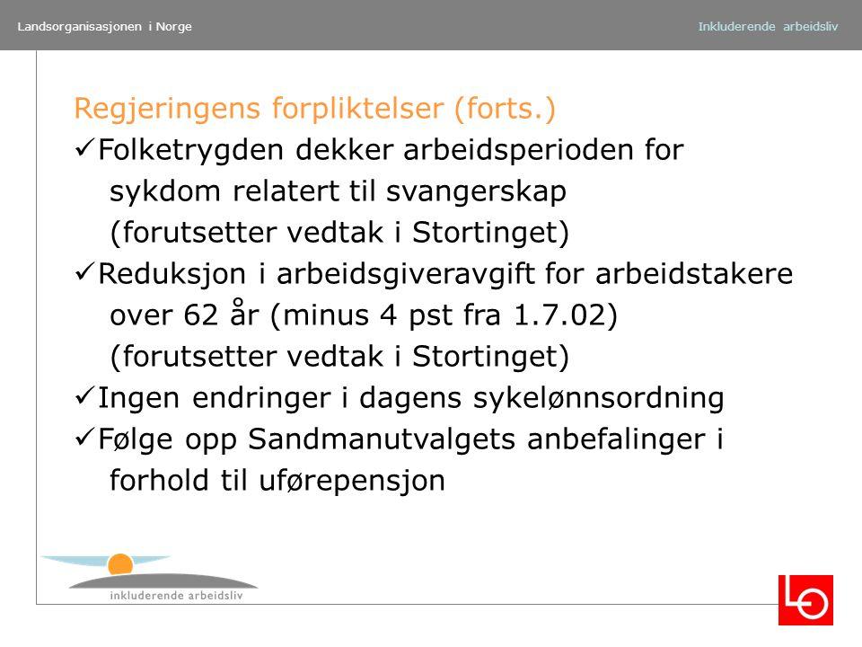 Landsorganisasjonen i NorgeInkluderende arbeidsliv Regjeringens forpliktelser (forts.) Folketrygden dekker arbeidsperioden for sykdom relatert til sva