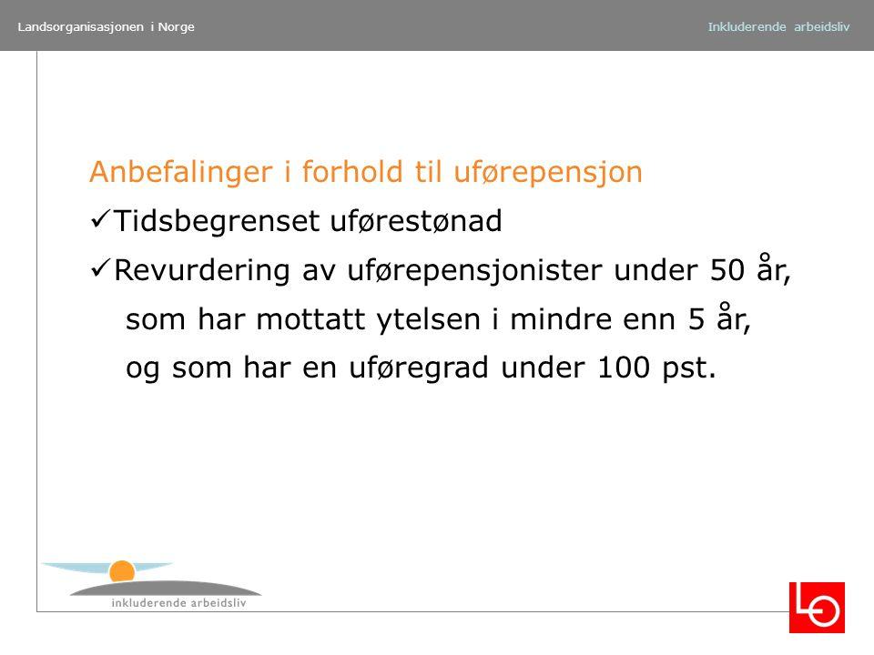 Landsorganisasjonen i NorgeInkluderende arbeidsliv Anbefalinger i forhold til uførepensjon Tidsbegrenset uførestønad Revurdering av uførepensjonister
