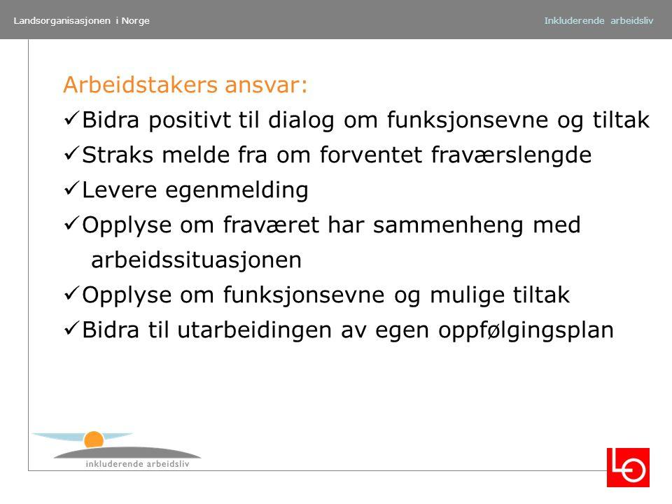 Landsorganisasjonen i NorgeInkluderende arbeidsliv Arbeidstakers ansvar: Bidra positivt til dialog om funksjonsevne og tiltak Straks melde fra om forv