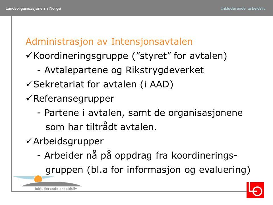 """Landsorganisasjonen i NorgeInkluderende arbeidsliv Administrasjon av Intensjonsavtalen Koordineringsgruppe (""""styret"""" for avtalen) - Avtalepartene og R"""