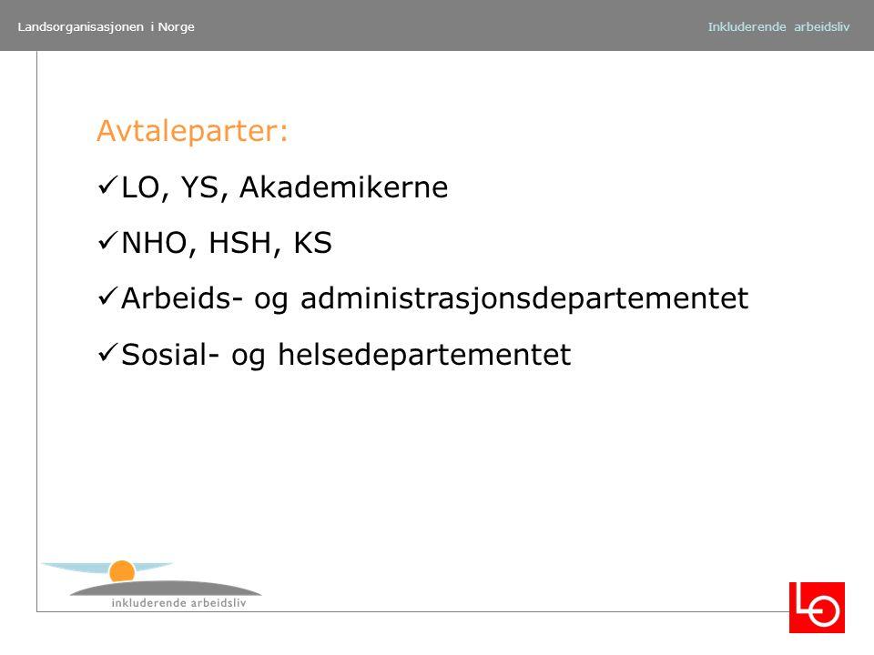 Landsorganisasjonen i NorgeInkluderende arbeidsliv Avtaleparter: LO, YS, Akademikerne NHO, HSH, KS Arbeids- og administrasjonsdepartementet Sosial- og