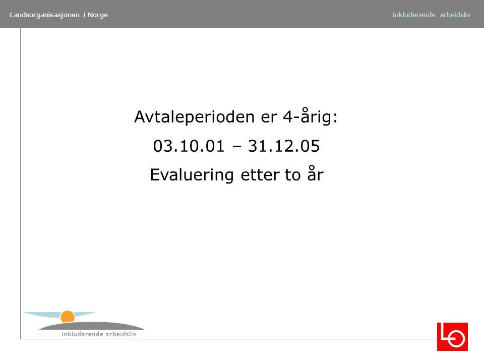 Landsorganisasjonen i NorgeInkluderende arbeidsliv Avtaleperioden er 4-årig: 03.10.01 – 31.12.05 Evaluering etter to år