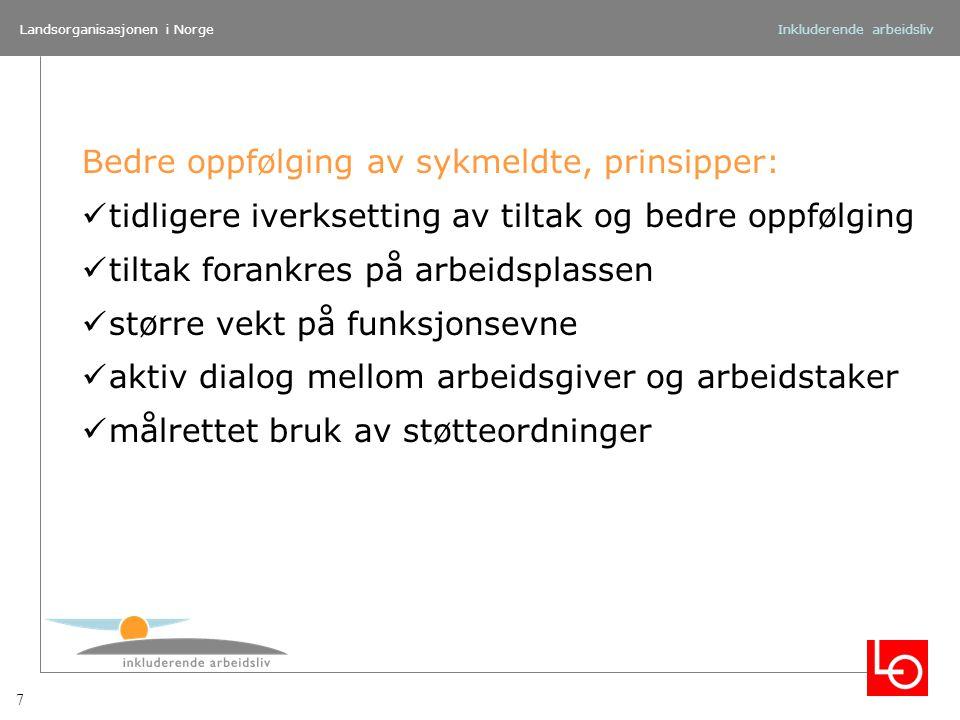 Landsorganisasjonen i NorgeInkluderende arbeidsliv Bedre oppfølging av sykmeldte, prinsipper: tidligere iverksetting av tiltak og bedre oppfølging til