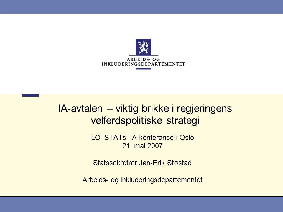 IA-avtalen – viktig brikke i regjeringens velferdspolitiske strategi LO STATs IA-konferanse i Oslo 21.