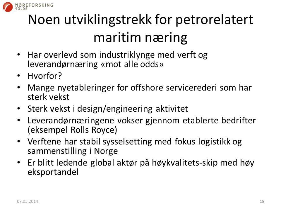 Noen utviklingstrekk for petrorelatert maritim næring Har overlevd som industriklynge med verft og leverandørnæring «mot alle odds» Hvorfor? Mange nye