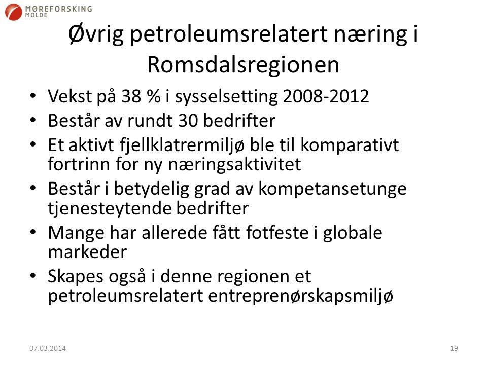 Øvrig petroleumsrelatert næring i Romsdalsregionen Vekst på 38 % i sysselsetting 2008-2012 Består av rundt 30 bedrifter Et aktivt fjellklatrermiljø ble til komparativt fortrinn for ny næringsaktivitet Består i betydelig grad av kompetansetunge tjenesteytende bedrifter Mange har allerede fått fotfeste i globale markeder Skapes også i denne regionen et petroleumsrelatert entreprenørskapsmiljø 07.03.201419