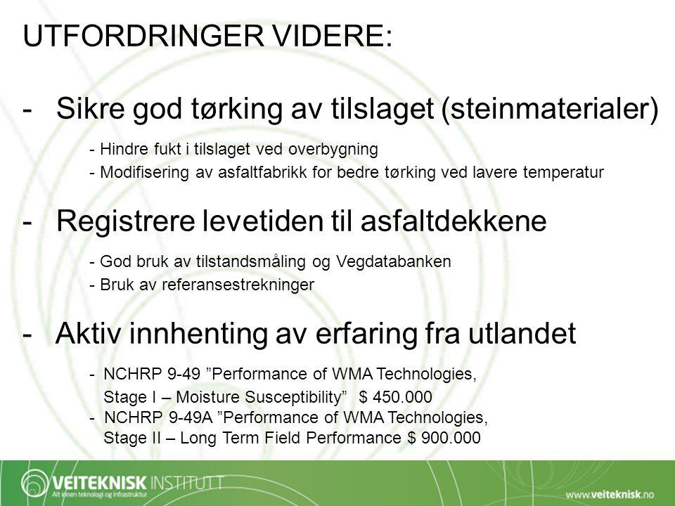UTFORDRINGER VIDERE: -Sikre god tørking av tilslaget (steinmaterialer) - Hindre fukt i tilslaget ved overbygning - Modifisering av asfaltfabrikk for b