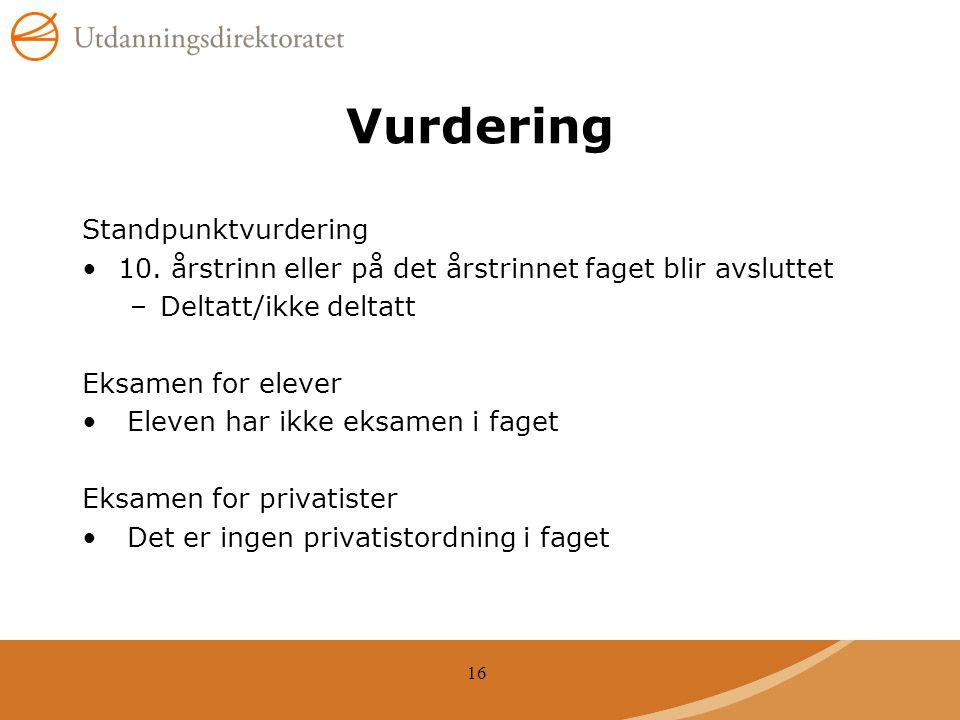 16 Vurdering Standpunktvurdering 10.