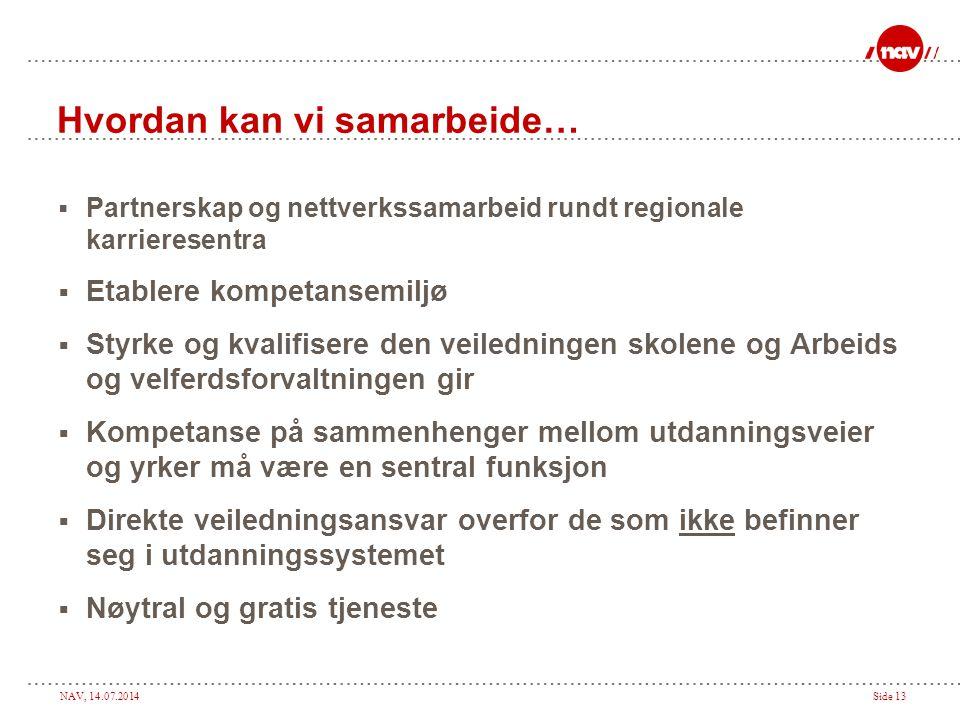 NAV, 14.07.2014Side 13 Hvordan kan vi samarbeide…  Partnerskap og nettverkssamarbeid rundt regionale karrieresentra  Etablere kompetansemiljø  Styr