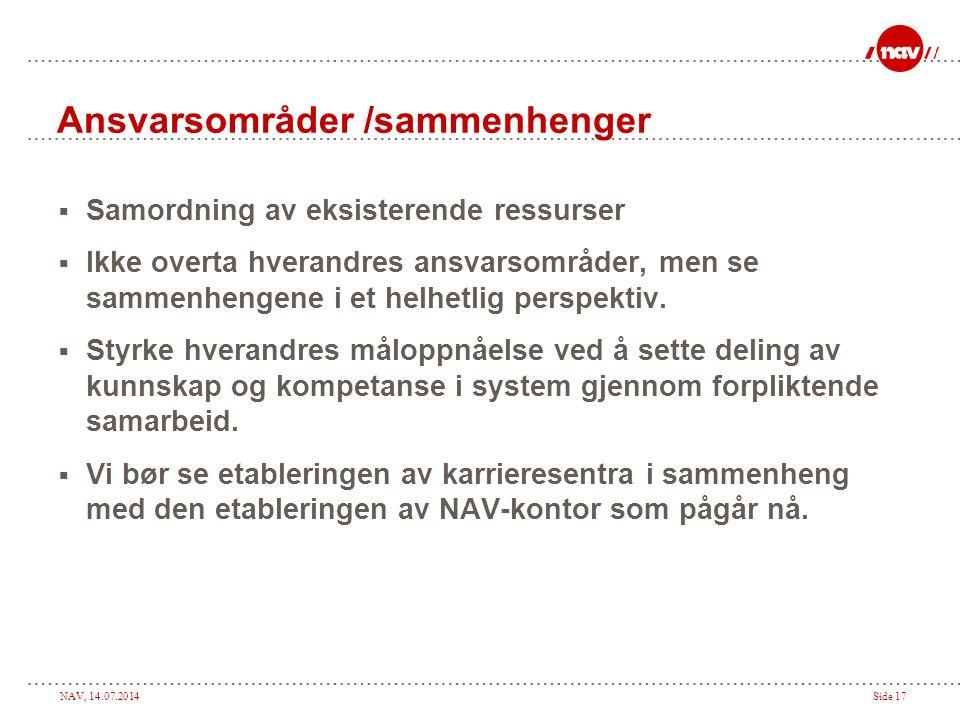 NAV, 14.07.2014Side 17 Ansvarsområder /sammenhenger  Samordning av eksisterende ressurser  Ikke overta hverandres ansvarsområder, men se sammenhenge