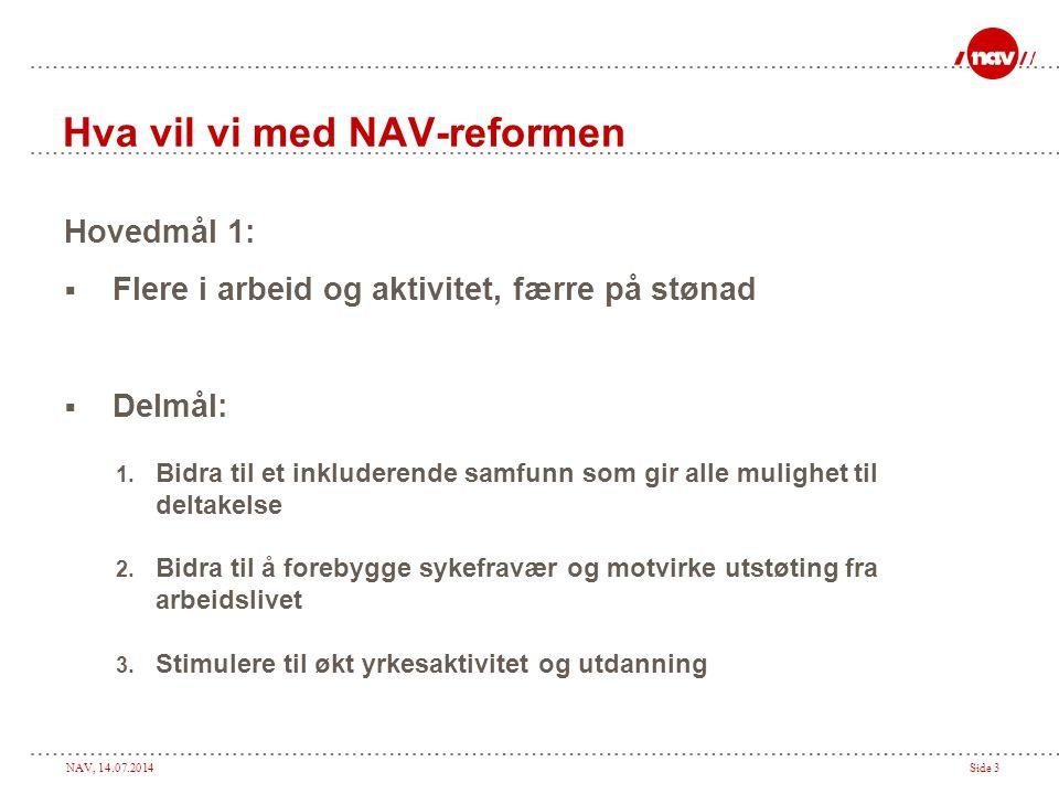 NAV, 14.07.2014Side 3 Hva vil vi med NAV-reformen Hovedmål 1:  Flere i arbeid og aktivitet, færre på stønad  Delmål: 1. Bidra til et inkluderende sa