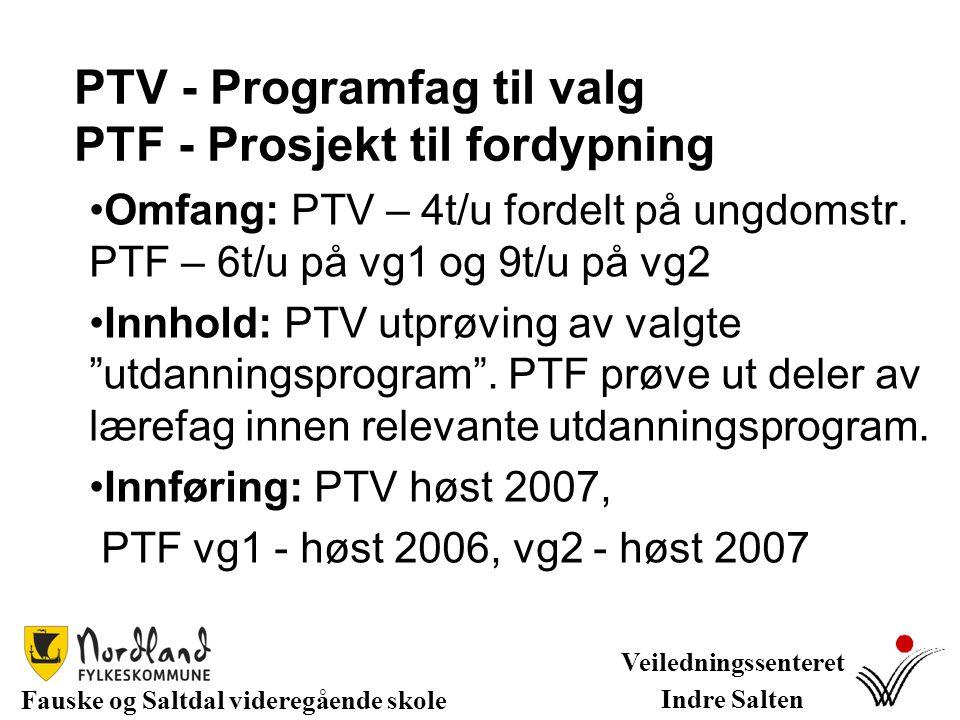 PTV - Programfag til valg PTF - Prosjekt til fordypning Omfang: PTV – 4t/u fordelt på ungdomstr. PTF – 6t/u på vg1 og 9t/u på vg2 Innhold: PTV utprøvi
