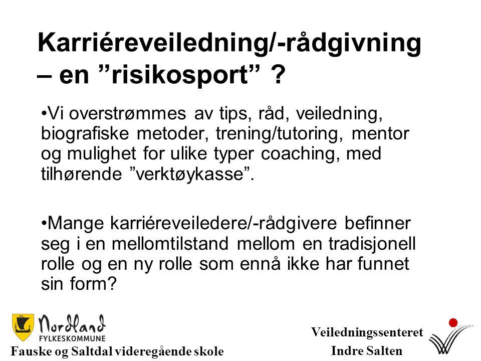 """Karriéreveiledning/-rådgivning – en """"risikosport"""" ? Vi overstrømmes av tips, råd, veiledning, biografiske metoder, trening/tutoring, mentor og mulighe"""