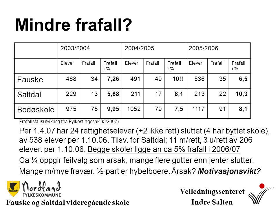 Mindre frafall? Fauske og Saltdal videregående skole Veiledningssenteret Indre Salten Frafallstallsutvikling (fra Fylkestingssak 33/2007) Per 1.4.07 h