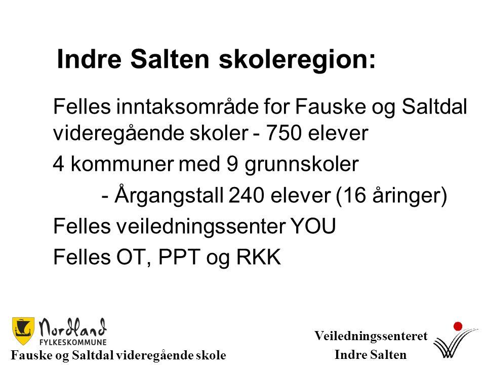Indre Salten skoleregion: Felles inntaksområde for Fauske og Saltdal videregående skoler - 750 elever 4 kommuner med 9 grunnskoler - Årgangstall 240 e