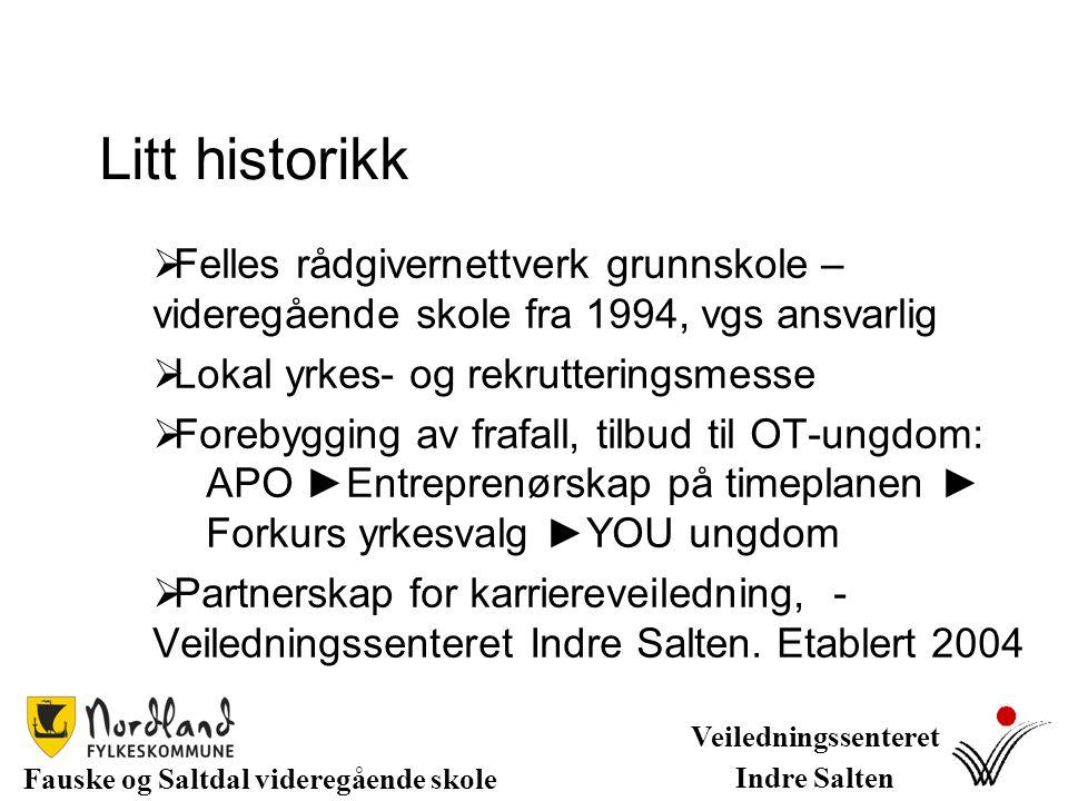 Veiledningssenter Indre Salten Fauske og Saltdal videregående skoler Grunnskoler i Sørfold kommune Veiledningssenter Indre Salten tilbud 5 dager i uken, 100% stilling, 3 veiledere.