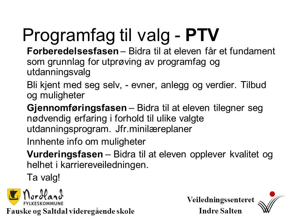PTV - Programfag til valg PTF - Prosjekt til fordypning Omfang: PTV – 4t/u fordelt på ungdomstr.