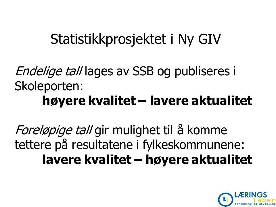 Statistikkprosjektet i Ny GIV Endelige tall lages av SSB og publiseres i Skoleporten: høyere kvalitet – lavere aktualitet Foreløpige tall gir mulighet