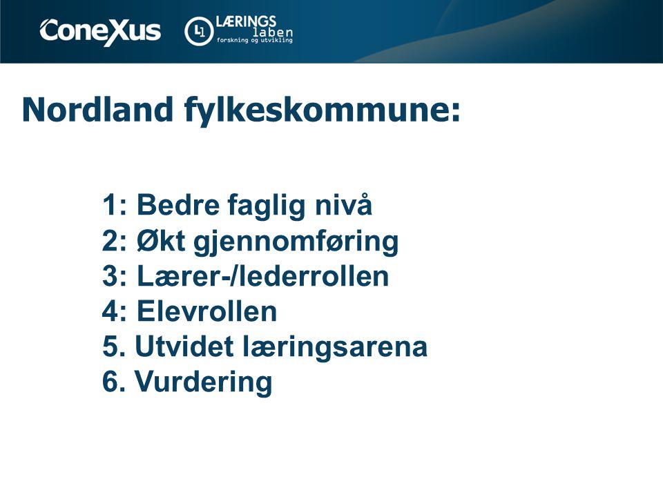 Nordland fylkeskommune: 1: Bedre faglig nivå 2: Økt gjennomføring 3: Lærer-/lederrollen 4: Elevrollen 5. Utvidet læringsarena 6. Vurdering