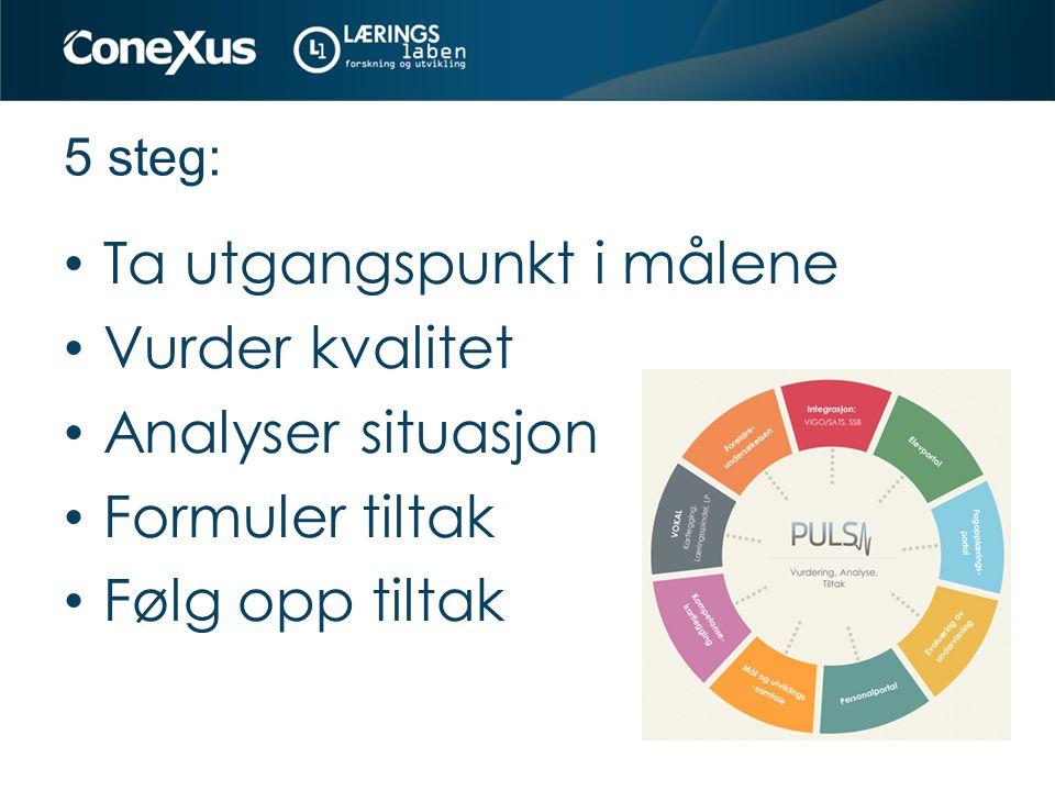 5 steg: Ta utgangspunkt i målene Vurder kvalitet Analyser situasjon Formuler tiltak Følg opp tiltak