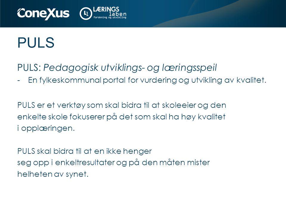 PULS PULS: Pedagogisk utviklings- og læringsspeil -En fylkeskommunal portal for vurdering og utvikling av kvalitet. PULS er et verktøy som skal bidra