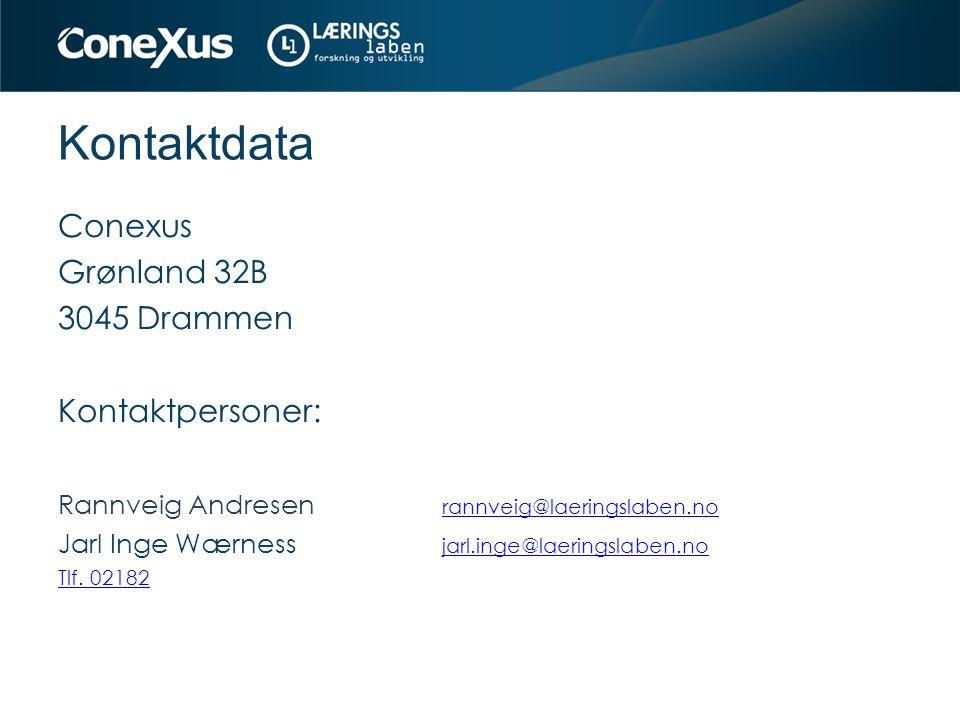 Kontaktdata Conexus Grønland 32B 3045 Drammen Kontaktpersoner: Rannveig Andresen rannveig@laeringslaben.no Jarl Inge Wærness jarl.inge@laeringslaben.n
