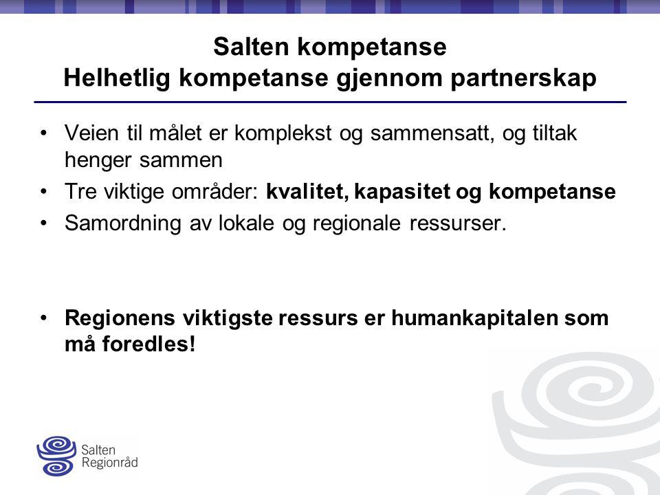 Salten kompetanse Helhetlig kompetanse gjennom partnerskap Veien til målet er komplekst og sammensatt, og tiltak henger sammen Tre viktige områder: kvalitet, kapasitet og kompetanse Samordning av lokale og regionale ressurser.