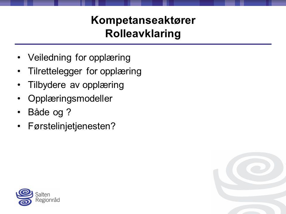 Kompetanseaktører Rolleavklaring Veiledning for opplæring Tilrettelegger for opplæring Tilbydere av opplæring Opplæringsmodeller Både og .